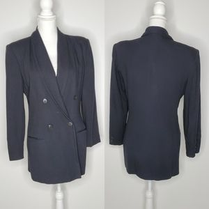 Vintage Express Double Breasted Blazer Black 90s M